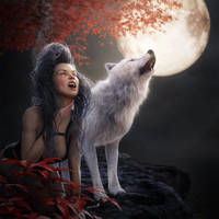 Wolf Girl Howling to the Moon, Fantasy Art by shibashake