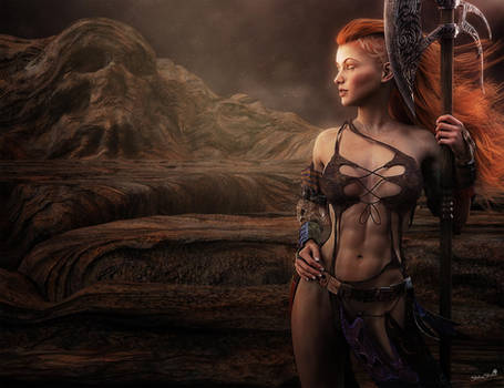 Fantasy Redhead Warrior Woman, 3D-Art