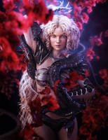 Blonde Snake Woman with Claws Fantasy Art