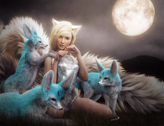 White Fox Girl and Fantasy Foxes, 3D-Art by shibashake