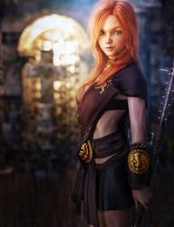 Green-Eyed Redhead Girl, Fantasy Art
