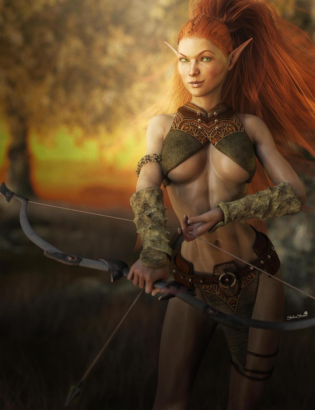 Redhead Elf Archer Girl, Fantasy Art by shibashake