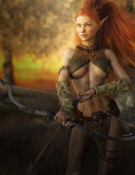 Redhead Elf Archer Girl, Fantasy Art