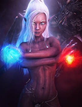 Dark Elf Mage Girl with Dragon, Fantasy Art