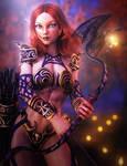 Redhead Elf Girl with Dragon Bow, Fantasy Art
