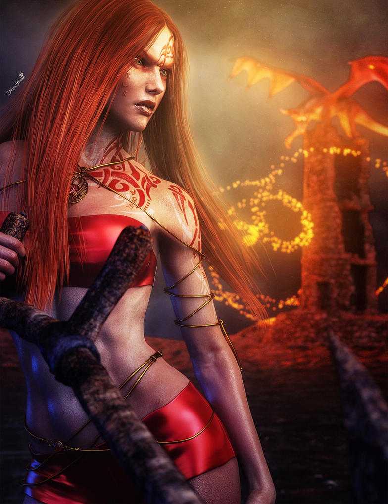 Redhead fantasy girl warrior with tattoos 3d art by shibashake on redhead fantasy girl warrior with tattoos 3d art by shibashake voltagebd Images