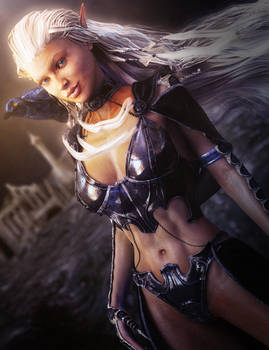 White Haired Fantasy Elf Warrior with Crow, 3D-Art
