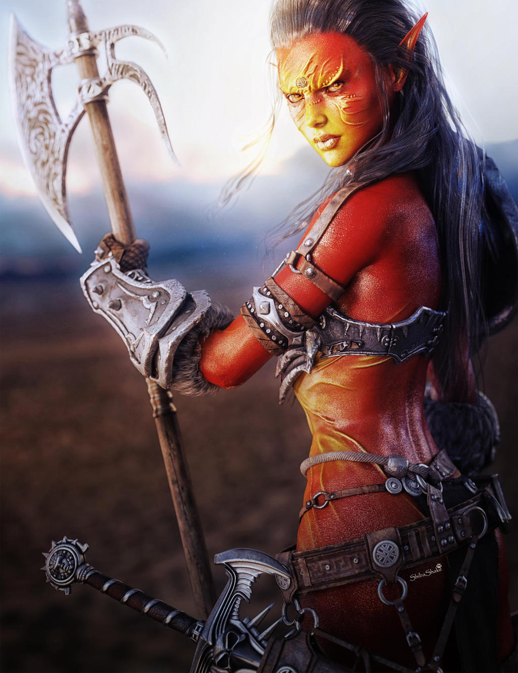 Fantasy warrior woman with sword and axe 3d art by - Fantasy female warrior artwork ...