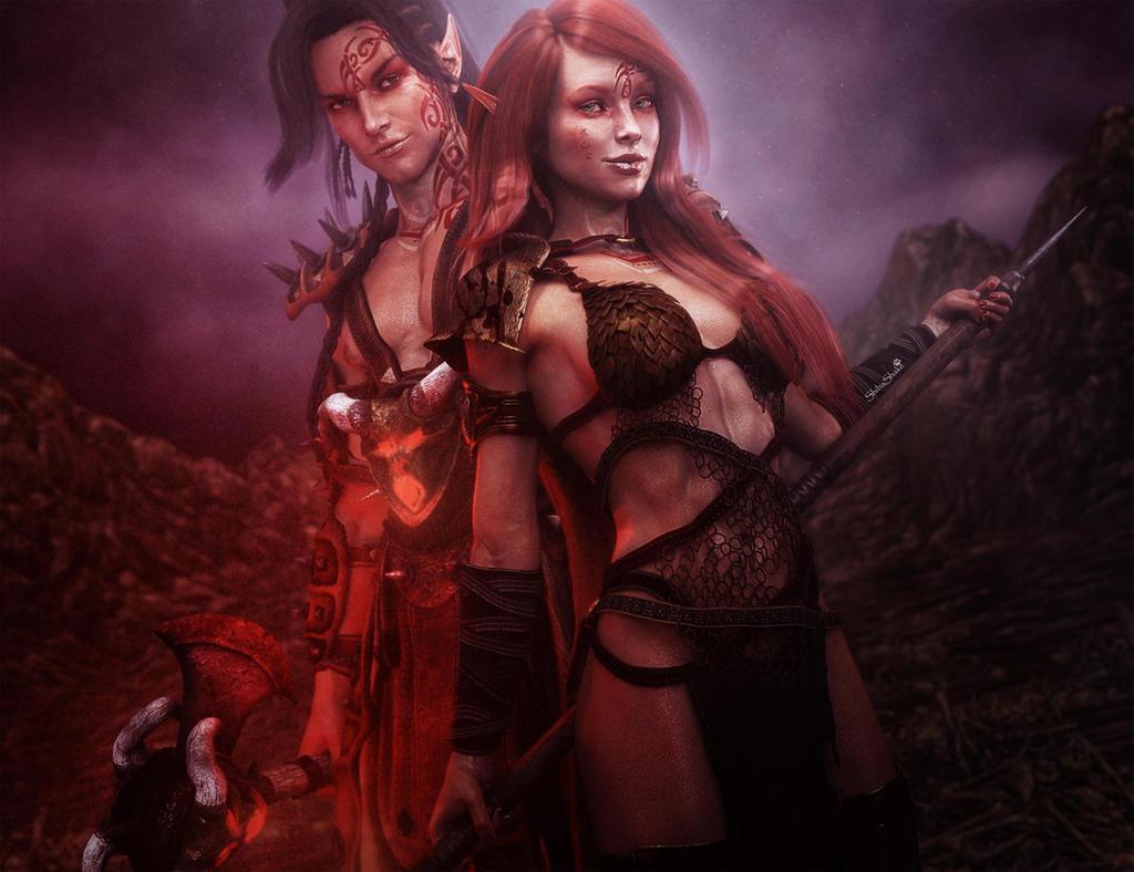 Erotic woman warrior fantasy art think