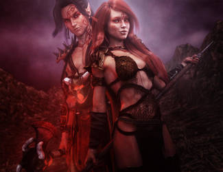 Barbarian Warrior Man and Woman, Fantasy Art