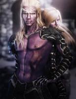 Dark Elf Man and Woman Fantasy Art by shibashake