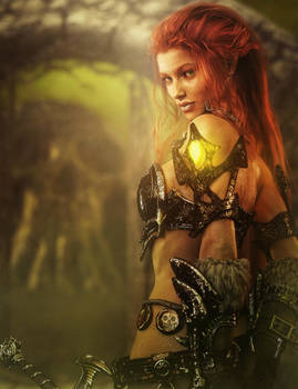 Redhead Warrior Girl Fantasy 3D-Art