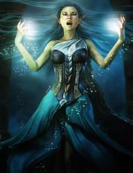 Blue Magic Sorceress Woman Fantasy Art by shibashake