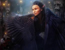 Dark-Haired, Dark-Winged Elf Woman, Fantasy Art