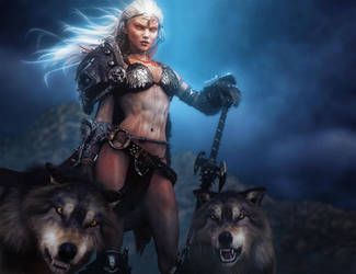 White-haired Wolf Warrior Woman Fantasy Art