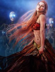 Redhead Necromancer Woman + Skeletons Fantasy Art by shibashake