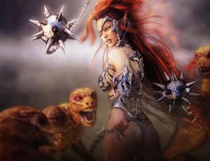 Redhead Elf Warrior Woman vs Lizardmen Fantasy Art