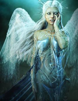 White-haired Winter Angel Fantasy 3D-Art