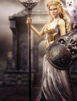 Athena, Goddess of War and Wisdom, Fantasy Art