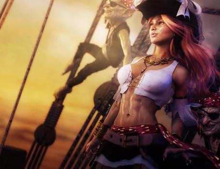 Redhead Pirate Girl Pin-up, Fantasy Art