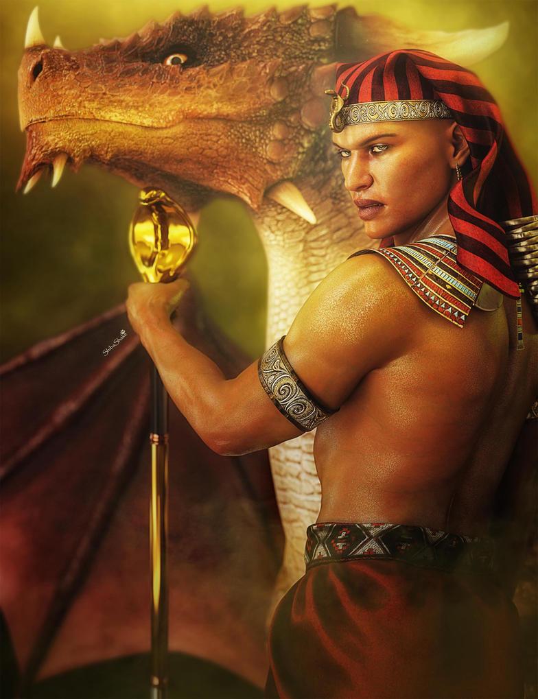 Pharaoh, King of Egypt and his Dragon, Fantasy Art by shibashake