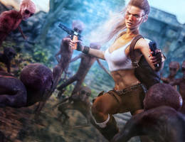 Lara Croft vs. Grey Aliens, Tomb Raider Fan-Art