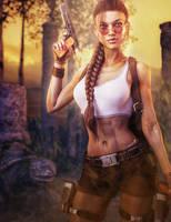 Lara Croft, Tomb Raider Game Fan-Art by shibashake