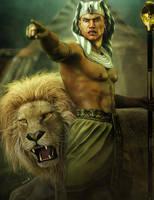 King of Egypt and Lion Fantasy Art by shibashake