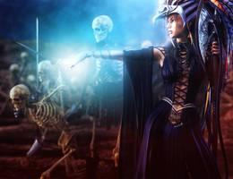 Skeleton Army and Necromancer Woman Fantasy Art by shibashake