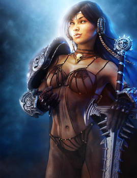 Dark-Haired Warrior Woman, Fantasy Art