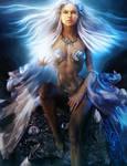 White-haired Dragon Woman, Fantasy Art