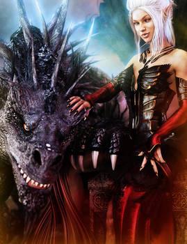 White-Haired Elf Girl + Black Dragon, Fantasy Art