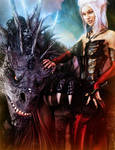 White-Haired Elf Girl + Black Dragon, Fantasy Art