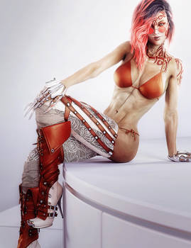 Redhead Woman in High Boots, Pin-Up 3D-Art