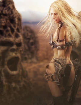 Blonde Warrior Woman, Fantasy 3D-Art