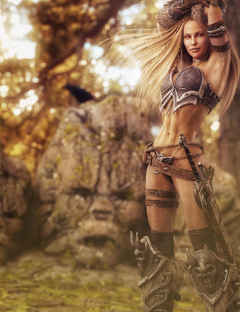 Blonde Warrior Woman and Totem Stones, Fantasy Art by ...