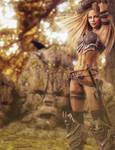 Blonde Warrior Woman and Totem Stones, Fantasy Art