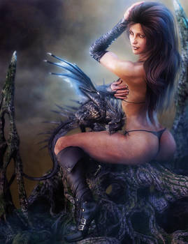 Dragon and Black Leather Girl Pin-Up, Fantasy Art