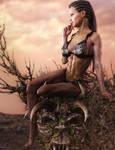 Fantasy Lady Sitting on a Throne of Thorns, 3D-Art