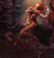 Red Head Dancer Woman, Fantasy Art by shibashake