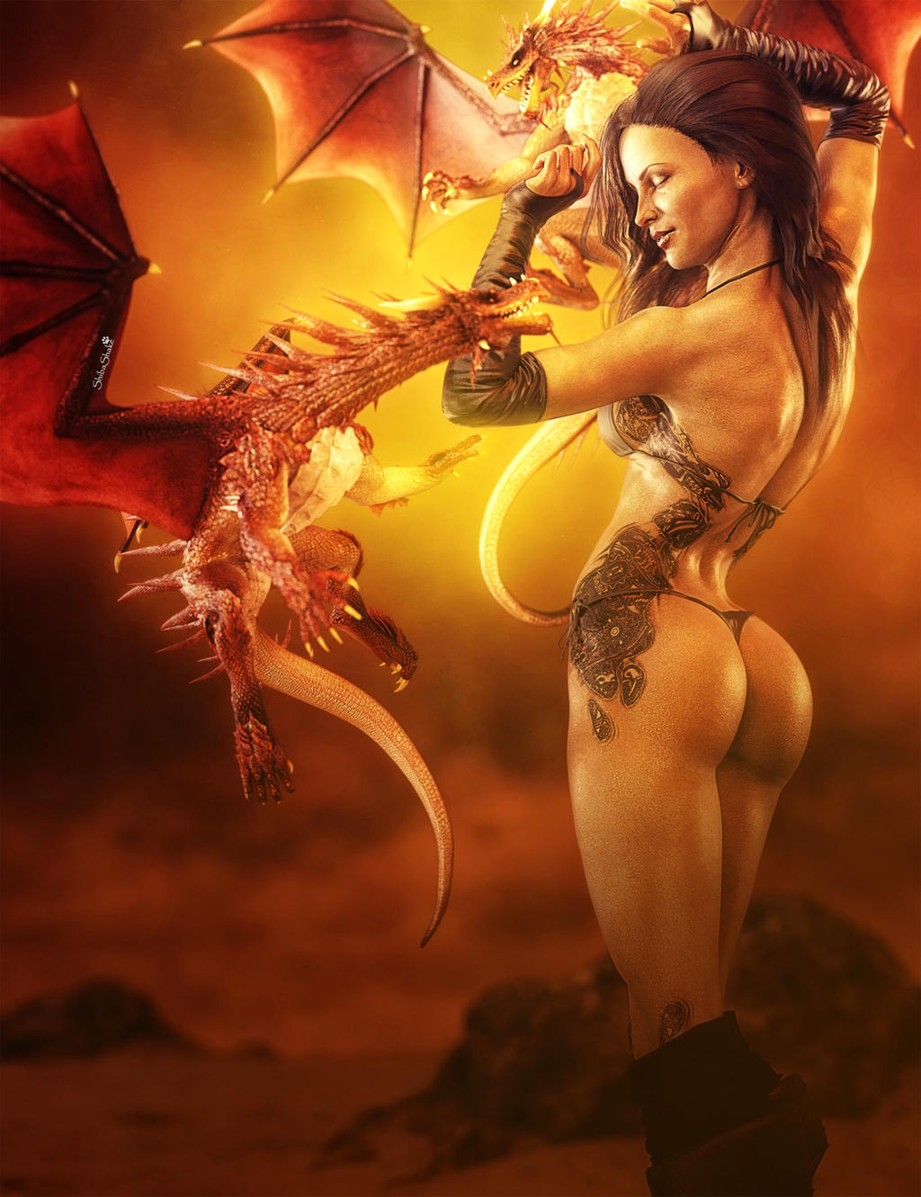 Dark hairedwoman dancing with dragons fantasy art by shibashake dark hairedwoman dancing with dragons fantasy art by shibashake voltagebd Images