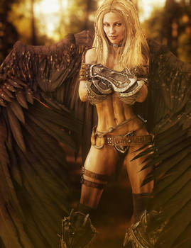 Blonde Warrior Woman Angel, Fantasy Art
