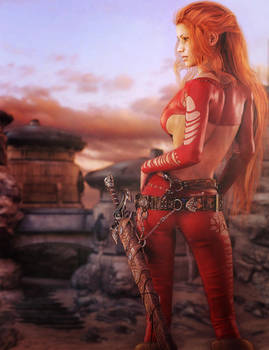 Red Head Warrior Woman Fantasy Art Daz Studio Iray