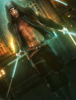 Dark Male Assassin with Glowing Swords Fantasy Art