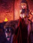 Dark Haired Woman and Big Black Wolf Fantasy Art by shibashake