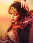 Dragon Girl with Tattoos Portrait, Fantasy Art