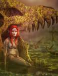 Red Head Elf Girl at Dragon Stone, Fantasy Art