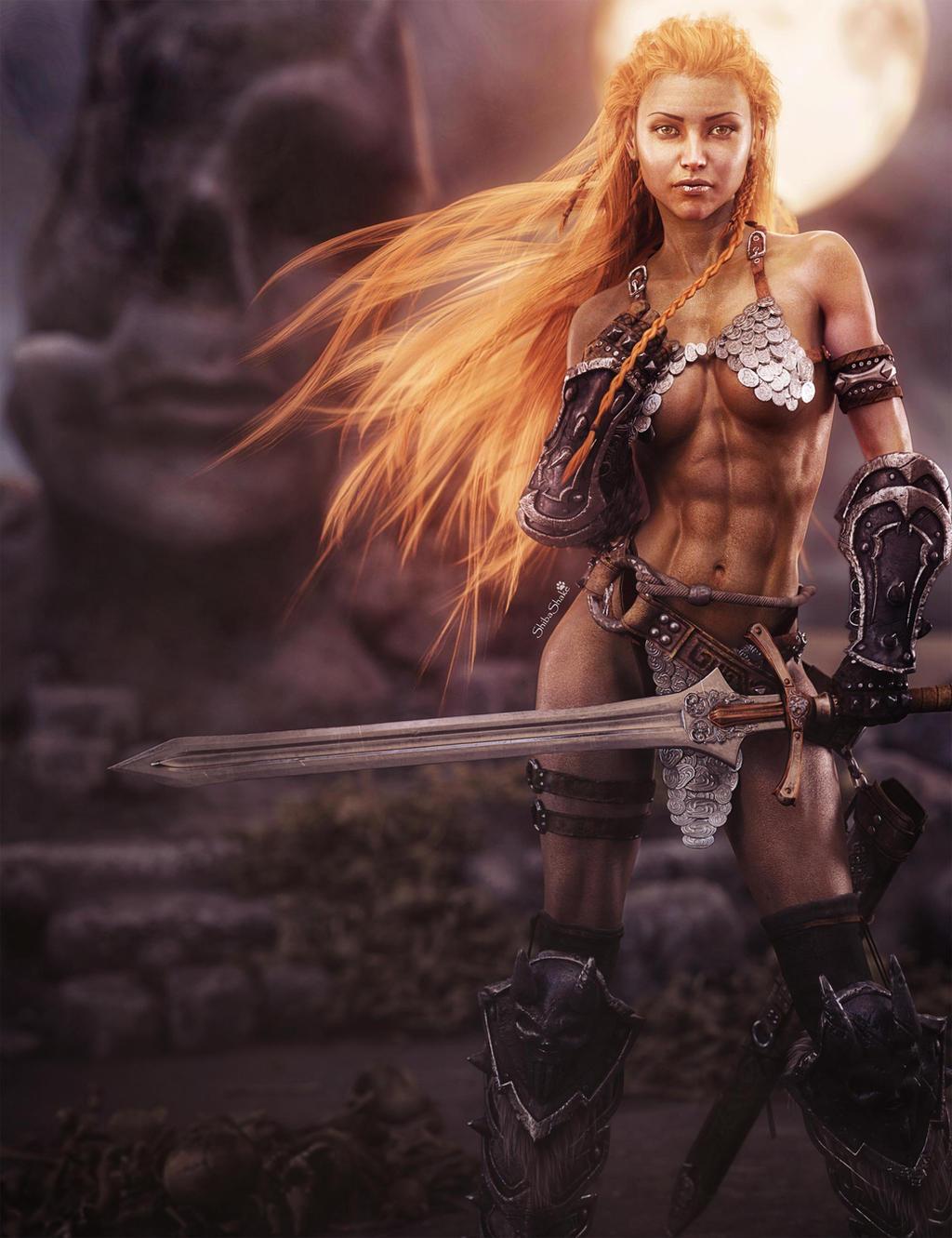 Red sonja fantasy fan art by shibashake on deviantart - Fantasy female warrior artwork ...