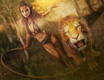 Sexy Cat Girl with Whip and Tiger, Fantasy 3D-Art