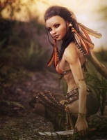 Dark Haired Tribal Elf Warrior Girl, Fantasy Art by shibashake